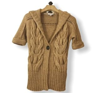 LOFT Brown Cable Knit Hooded Sweater